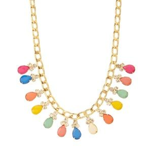 Multi-colored drop crystal necklace